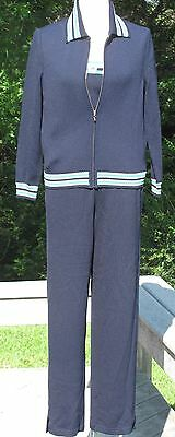 St John Sport by Marie Gray navy, teal, white knit pant suit & sweater, Sz S