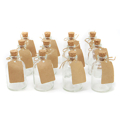 Set of 12 Mini Glass Bottles Perfect for Wedding Favours & Decoration M&W