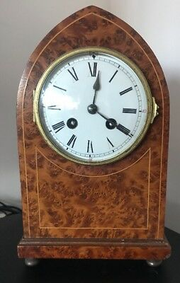 Rare Antique Birds Eye Maple French Striking Mantle Clock @ 1900