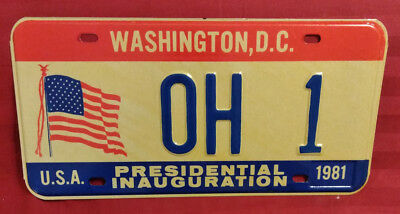 1981 District Of Columbia Oh-1 Ohio Inaugural License Plate