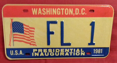 1981 District Of Columbia Fl-1 Florida Inaugural License Plate