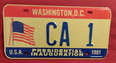 1981 District Of Columbia Ca-1 California Inaugural License Plate