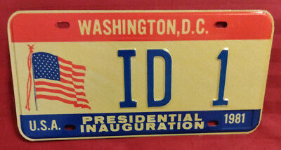 1981 District Of Columbia Id-1 Idaho Inaugural License Plate