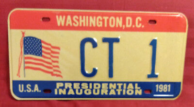 1981 District Of Columbia Ct-1 Connecticut Inaugural License Plate