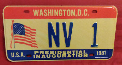 1981 District Of Columbia Nv-1 Nevada Inaugural License Plate
