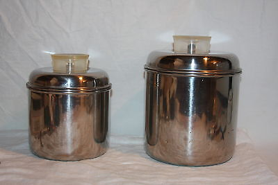 Vintage Rever Ware Stainless Steel Stackable Nesting Canisters Lucite Handles