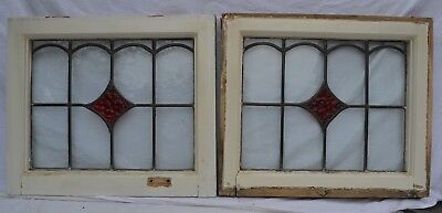 2 British art deco leaded light stained glass window panels. R847b.