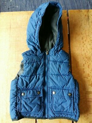Boys Hooded Gilet/body Warmer From Baby Gap - Age 18-24 Months