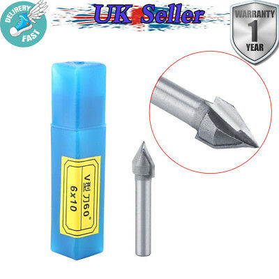 6mm x 10mm CNC Engraving V Groove Bit 3D Router Carving Cutter Tool 60 Degree UK