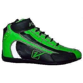 Velocita G03 Safety Driving Racing Shoes SFI Leather / Nomex Flo Green Size 3
