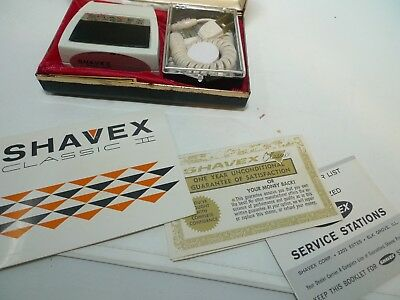 VINTAGE Shavex Classic 2 Electric Razor Paperwork Case Brush Powder Tested Works
