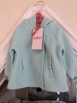 BNWT Ted Baker Baby Girl Green Lightly Quilted Jacket Coat 3-6 months with Hood