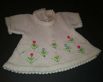 "Vintage 15"" 16"" DOLL White Sweater DRESS Red Pink Blue Flowers Tagged Korea"