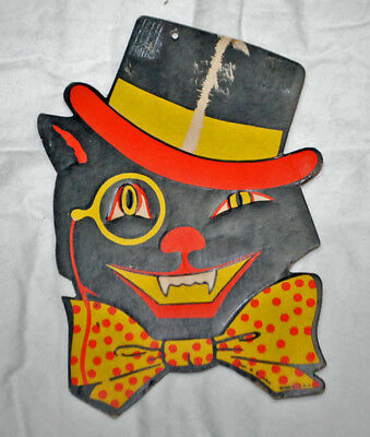 Vintage H.E. Luhrs Cat in Top Hat Halloween Die Cut Embossed Paper Decoration