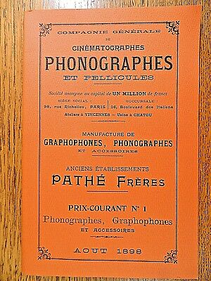Compagnie Generale Cinematographes Phonographes Booklet en francais IN FRENCH