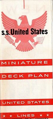 1954 S.S. UNITED STATES Full Ship Miniature Deck Plan- NAUTIQUES sHiPs WORLDWIDE