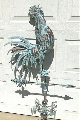 LG 3D CROWING ROOSTER Weathervane AGED COPPER PATINA FINISH Handcrafted NEW