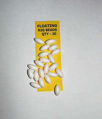Floating Rig Beads Pack of 20 Bright White - Sea, Freshwater Fishing