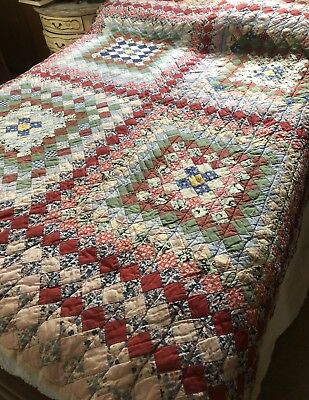 "Antique Patchwork Quilt With Feed/Flour Sack Back~Sand Mountain, AL~84"" By 84"""
