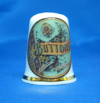Birchcroft China Thimble -- Vintage Advertising Buttons -- Free Dome Gift Box