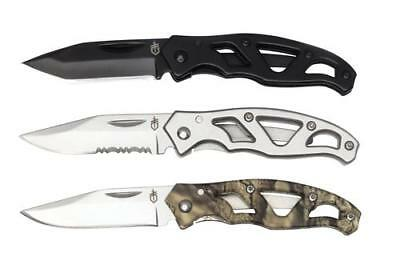 GERBER PARAFRAME MINI COMBO of 3 KNIFE KIT - STAINLESS SERRATED, CAMO & TANTO
