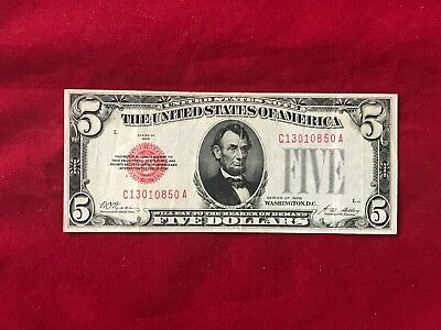 FR-1525  1928 Plain Series $5 Red Seal US Legal Tender Note *Very Fine +*