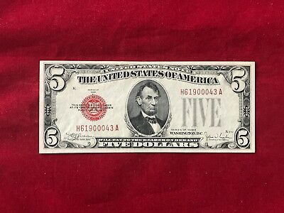 FR-1530  1928 E Series $5 Five Dollar Red Seal US Legal Tender Note  *AU*