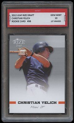 Christian Yelich 2012/2013 Leaf Rize Draft 1St Graded 10 Rookie Card Rc Brewers