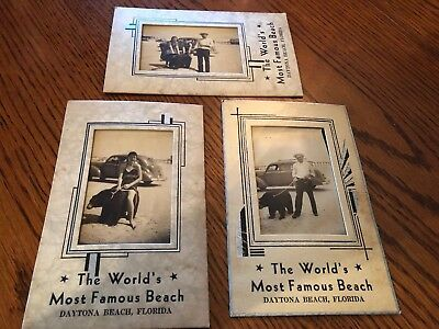 Three Old Souviner Photos Family With Bear , Art Deco Franes