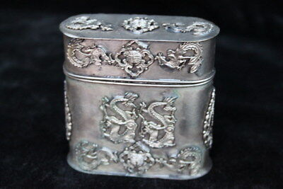 Collectable Handwork Old Miao SIlver Carve Dragon Phoenix Exorcism Toothpick Box