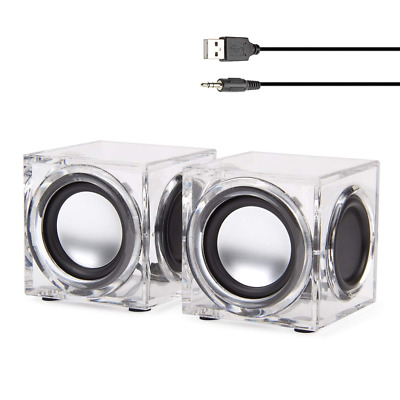 Wired PC Speakers Mini Clear Cube USB Powered Stereo w/ Dual Passive Woofers New