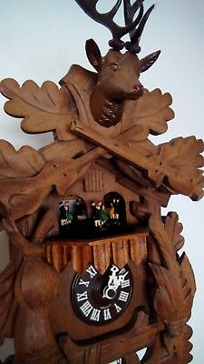 Large German Hunting Cuckoo Clock  Hare & Pheasant & Stag For Repair