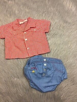 Vintage Baby Boys Infant 2 Piece Cowboy Sheriff Red Blue Gingham Set