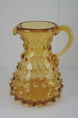 Vintage Hand Blown Amber Glass Pitcher w. Applied Handle Hobnail 5-1/4""