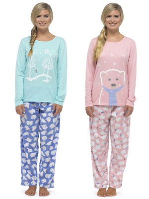 Womens Girls Fleece Pyjamas Cute Polar Bear Glitter Print PJs Warm Loungewear