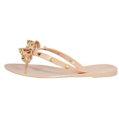 Women's Studded Bow Jelly Thong Flip Flop Sandals Valencia-Valentino Rock St
