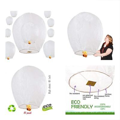 Sky Lanterns 10-Pack, Fully Assembled And100% Biodegradable (No Metal Wire),for