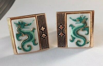 Vintage Toshikane Japanese Hand painted Porcelain Green Dragon Cufflinks