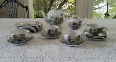 VINTAGE KUTANI HAND PAINTED CHINA 18pc TEA SET with LITHOPHANE GEISHA CUPS
