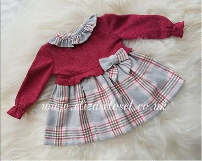 Spanish Baby Girls Red & Grey Tartan Dress. Christmas. 3-6 months. Romany.