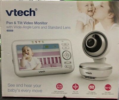 VTech VM5261 5-Inch Digital Video Baby Monitor with Pan and Tilt Camera in White