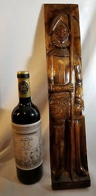 Vintage Pizarro Wood Carving plaque refinished 19 7/8 inches tall great detail