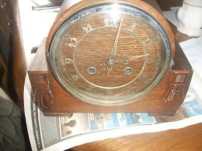 Antique Art Deco Mantel Clock  Oak  Wood Case Striking Gong