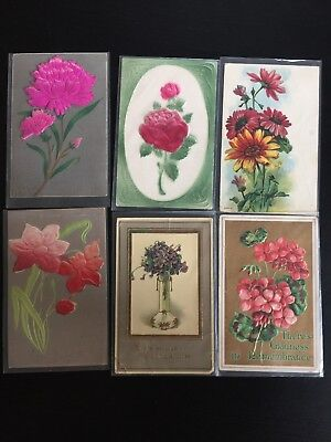 Vintage Antique Post Cards Flowers Raised Designs Felt  Lot of 6