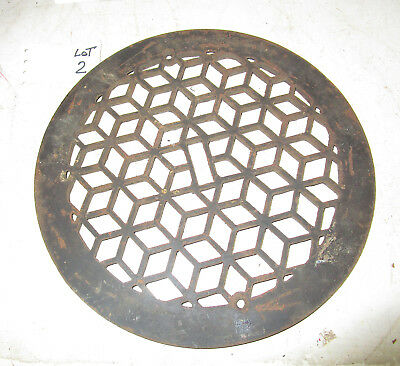 "Antique 11 5/8"" Diameter Round Cast Iron Decorative Floor Heating Grate Vent  2"