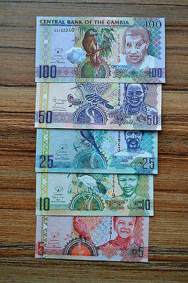Gambia SET 5 NOTE  5, 10, 25, 50, 100 Dalasis UNC BANKNOTE PAPER MONEY CURRENCY