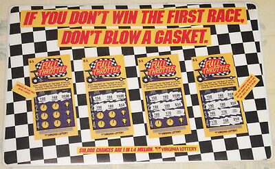 "Vintage 1993 ""virginia Lottery"" Full Throttle Drag Racing Counter Change Mat!!!"