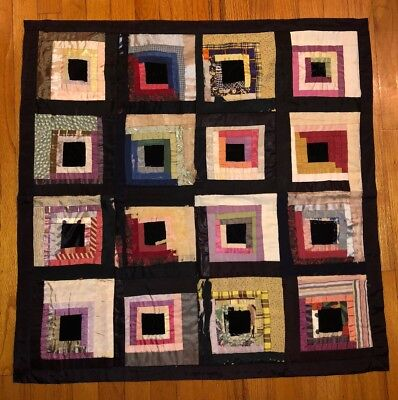 """Gorgeous Antique Hand Made Hand Stiched """"log Cabin"""" Quilt - With History"""