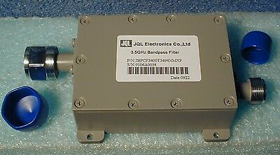 microwave bandpass filter,  3.400--3.494 GHz, new with spec sheet,  lot of two