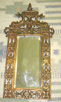 19thC Antique VICTORIAN Era CAST IRON Figural DOLPHIN Bevel MIRROR